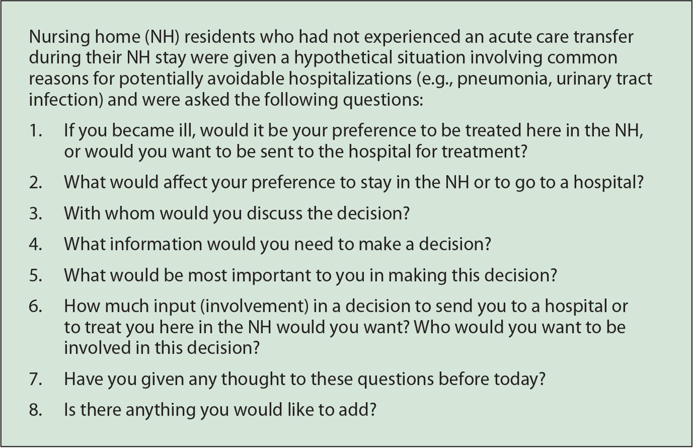 remaining in the nursing home versus transfer to acute care interview questions for residents who had not experienced a hospital transfer